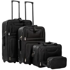 tectake Reisekoffer- und Taschen-Set 4-tlg. - schwarz