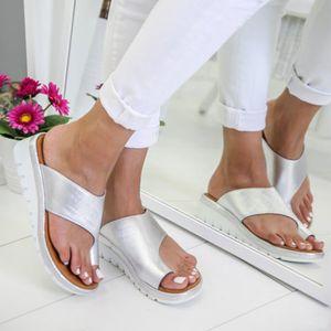 Frauen bequeme Plattform Sandale Schuhe Sommer Strand Damen Schuhe Silber 40 Farbe Silber 40