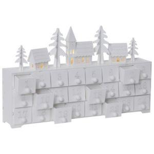 Adventskalender 'Yuletide' | Holz | weiß | mit Beleuchtung | 4 LEDs warmweiß | Größe ca. 37 x 21 cm | 24 Schubladen | zum selberfüllen | Weihnachtskalender