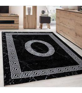 Kurzflor Teppich Troja Design Griechisches Ornament Muster Grau Schwarz Meliert, Grösse:160x230 cm