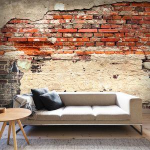 Fototapete selbstklebend Steinoptik 343x256 cm Tapete Wandtapete Wandbilder Klebefolie Dekofolie Tapetenfolie Wand Dekoration Wohnzimmer - Ziegel f-A-0503-a-b