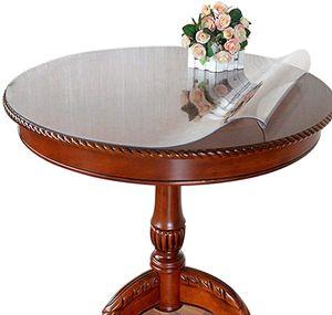 PVC Tischfolie rund 120 cm durchmesser durchsichtig transparente Tischdecke oval
