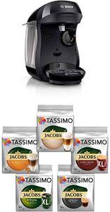 CYE&Bosch TAS1002 Tassimo Happy Kapselmaschine,1300 W, platzsparend, große Getränkevielfalt, real black + Tassimo Vielfaltspaket - 5 verschiedene Packungen kaffeehaltiger Getränke T Discs (1 x 927 g)