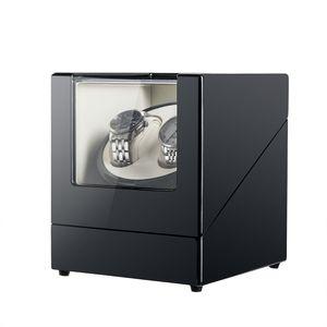 Crenex Automatischer Uhrenbeweger Uhrenbox Uhrendreher Uhrenkasten Watchwinder für 2 Uhren Schwarz Klavierlack