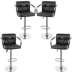 4er Set Barhocker Tresenhocker mit Armlehnen Barstuhl Drehstuhl aus Kunstleder Höhenverstellbar Schwarz Köpe