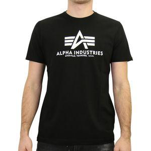 Alpha Industries Basic T-Shirt Herren Schwarz (100501 03) Größe: L (50-52)