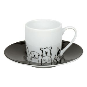 Könitz Funny Dogs Espresso Set, 2-tlg., Espresso Tasse, Becher, Untertasse, Porzellan, Hunde, 85 ml, 11 5 053 2076