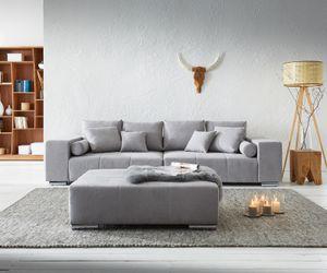 XXL-Sofa Marbeya Mikrofaser Grau 285x115 cm mit Hocker Big Sofa