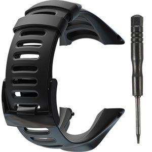 23cm Uhrenarmbänder Ersatz Armband für Suunto Ambit2 S Ambit2 Rot und Ambit3 Mit Edelstahl Verschluss - Schwarz
