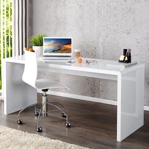 cagü: Design Schreibtisch [SOHO] Weiß Hochglanz  140cm x 60cm
