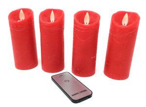 4x LED echtwachs Kerzen rot flammenlos Fernbedienung Stumpenkerze Adventskranz