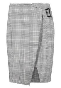 Damen Rock Glencheck Knielang Kariert Stretch Midi Skirt, Farben:Grau, Größe:34