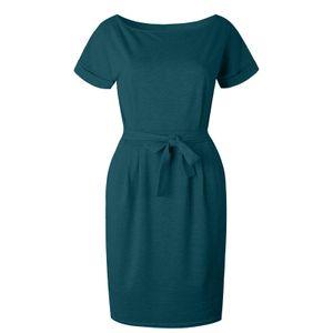 Damen Casual Pocket Summer Ladies Kurzarm Abendkleid Größe:XXL,Farbe:Grün