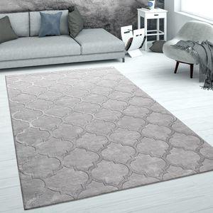 Teppich Wohnzimmer Kurzflor Marokkanisches Muster 3D Effekt Weich Grau Silber, Grösse:120x170 cm