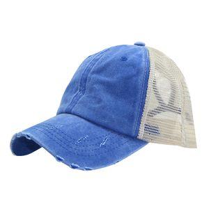 Frauen zerrissene Anti-UV-Netz Pferdeschwanz Hut verstellbare atmungsaktive Sport-Baseball-Kappe