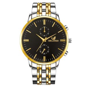 Dual Color Sub Zifferblätter Dekor Analog Alloy Band Business Men Quarz Armbanduhr Golden   Schwarz