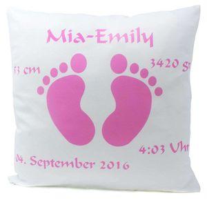 Kissen mit Namen Geburt Babyfüße Mädchen rosa 40x40 cm inkl. Füllung Geburtskissen Taufkissen, Kissen Farbe:Vorderseite weiß / RS schwarz