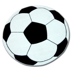 Teppich für Kinder KREIS HAPPY Fußball schwarz und Weiß Weiß rund 80 cm