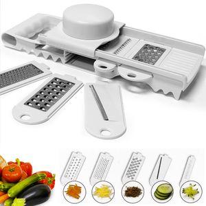 Alpina Reibe Multireibe Edelstahl Käsereibe Gemüseschneider Gemüsereibe Küchenreibe Raspel Hobel inkl. Fingerschutz - Farbe weiß
