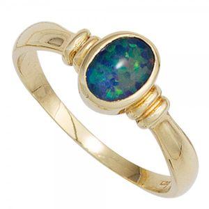 JOBO Damen Ring 585 Gold Gelbgold 1 Opal-Triplette Goldring Größe 60