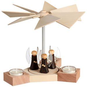 Moderne Erzgebirgspyramide Hexagonum 20 cm, Modell:mit Engel