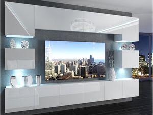 Wohnwand IM 3 mit LED , 300 cm , Weiß Hochglanz