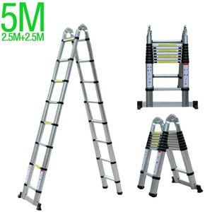5 Meter Aufstiegsleiter Teleskopleiter Aluleiter Anlegeleiter Klappleiter Stehleiter A-Rahmen-Leiter Mehrzweck Tragfähigkeit 150kg