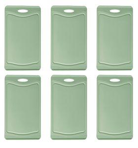 Steuber 6er Set Schneidebrettchen, Frühstücksbrettchen grün 25 x 14 cm mit Saftrinne, beidseitig verwendbar, messerschonend, Anti-Rutsch-Oberfläche