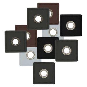 4 Metall-Ösen auf Kunstleder für Hoodies oder Taschen Ösenpatch, Farbwahl , Farbe:grau | Öse silbern