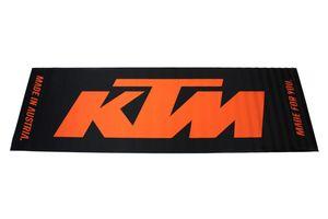 KTM Fahrrad Matte, Teppich, Bodenschutz, Garagenmatte für Abstellen in Wohnung oder Haus, 60 x 190cm, Schwarz mit Logo