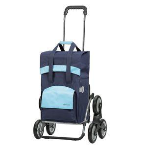 Andersen Einkaufstrolley Royal Treppensteiger und Einkaufstasche Holly schwarz/blau 49 Liter Einkaufswagen Stahlgestell klappbar