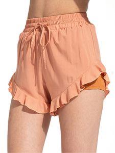 Sexydance Frauen Stretch Yoga Shorts Hosen Rüschen Kordelzug,Farbe: Orange,Größe:M