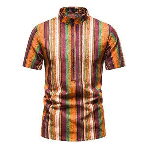 Herren Gestreiftes bedrucktes Hemd Kurzarm Stehkragen Knopf Casual Pullover,Farbe: 1#,Größe:XXL