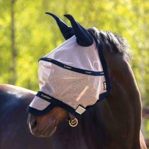 Horseware Rambo Plus Fly Mask Untreated - Oatmeal/Navy, Größe:L