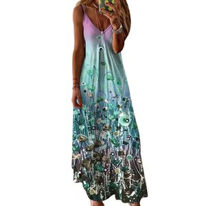 Frauen V-Ausschnitt Unregelmäßige Positionierung Blumendruck Hosenträger Kleid,Blau,L