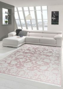 Vintage Teppich modern Wohnzimmerteppich Designteppich mit Fransen in Rosa Größe - 80x150 cm