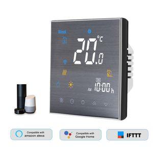 BTH-3000L-GBLW Smart Wlan Raum Thermostat Fußbodenheizung Programmierbarer, smart thermostat digitale tempereraturregler display touch screen, Sprachsteuerung Kompatibel mit Amazon Echo / Google-Startseite / Tmall Genie / IFTTT 5A AC 95-240V Schwarz