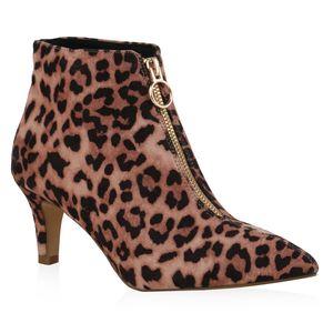Mytrendshoe Damen Ankle Boots Stiefeletten Stiletto Zipper Schuhe 835945, Farbe: Hellbraun Braun Leo, Größe: 40