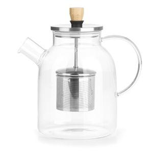 Teekanne Glaskanne mit Teesieb 1,0l Teebereiter Kanne Tee Sieb Glas modern BEEM