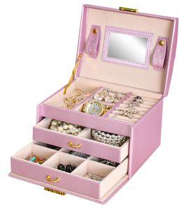Schmuckkästchen Koffer 3 Farben Abschließbar Spiegel Tragegriff 2 Schubladen  6347 , Farbe:Rosa/ pink