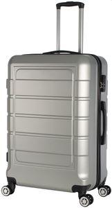 Hartschalenkoffer Trolley 4-Rollen Koffer Reisekoffer / XL 104 Liter / 201 - Farbe: silber