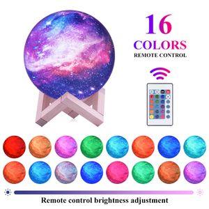 16 Farben LED 3D Mond Moon Lampe Galaxy Light Mondlicht Kinder Nachtlicht mit Touch Sensor