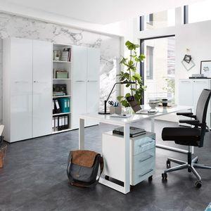 Design Büromöbel Set mit weißen Glasfronten MONTERO-01 Design Schreibtisch mit Glasplatte