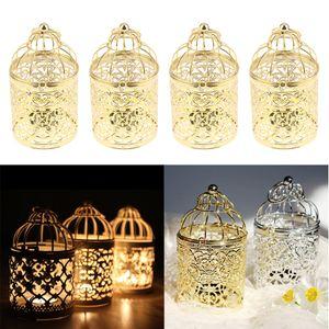 4 Stück Kerzenhalter Kerzenständer Teelichthalter in Vogelkäfig-Design, Ø 8 x 14 cm