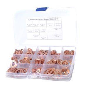 280 PCS 12 Größen Kupfer Metrische Dichtscheiben Flachdichtungen Ösen Sortiment Kit