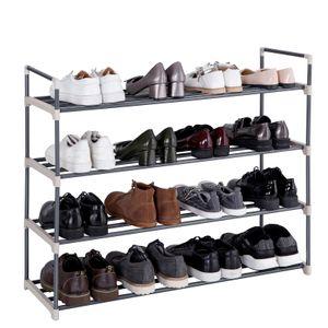 SONGMICS Schuhregal mit 4 Ablagen für bis zu 20 Schuhe 92 x 74 x 30 cm aus Stahl und Kunststoff  Schuhständer grau LSA14G
