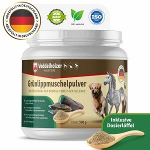 Grünlippmuschelpulver für Hunde, Katzen & Pferde 100% natürliches Pulver aus Neuseeland - 500g zur Unterstützung der Gelenkfunktionen - Ergänzungsfuttermittel mit Hoher Akzeptanz bei Allen Hunden