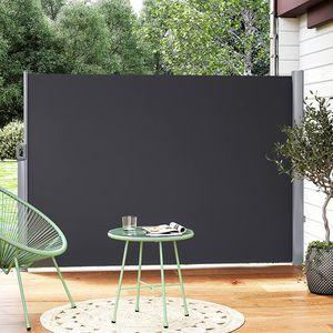 SONGMICS Alu-Seitenmarkise, aus Polyester (280 g/m²), 350 x 200 cm anthrazit ausziehbar wasserdicht Sichtschutz für Balkon Teresse Sonnenschutz Windschutz Seitenrollo GSA205G
