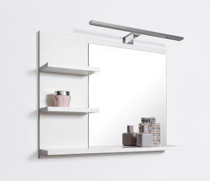 Badspiegel mit Ablagen Weiß mit LED Beleuchtung Badezimmer Spiegel Wandspiegel, L