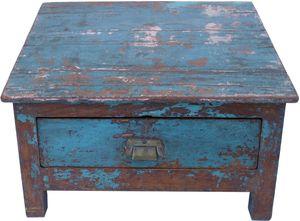 Boden Schreibpult, Truhe im Shabby Chic Look mit 1 Schublade - Modell 12, Blau, Holz, 37*52*41 cm, Schreibtische & Schreibpulte